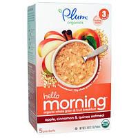 Plum Organics, Овсянка с яблоками, корицей и квиноа Hello Morning, 5 пакетов по 0,6 унций (17 г) каждый