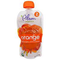 Plum Organics, Ешьте Ваши Цвета: Оранжевый - Персик, Тыква, Морковь и Корица, 3,5 унции (99 г)