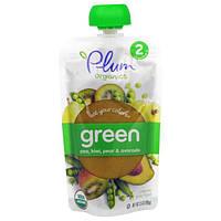Plum Organics, Ешьте Ваши Цвета: Зеленый - Горох, Киви, Груша и Авокадо, 3,5 унции (99 г)