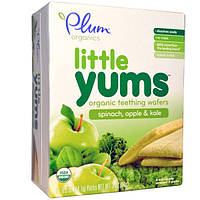Plum Organics, Little Yums, Organic Teething Wafers, Spinach, Apple & Kale, 6x0.5oz