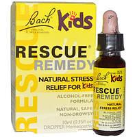 Bach, Original Flower Remedies, Rescue Remedy,естественное снятие стресса для детей, формула без спирта