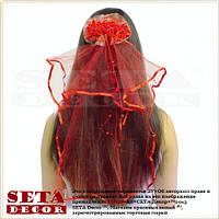 Красная фата на девичник на гребешке 55 см.
