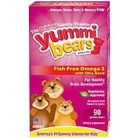 Hero Nutritional Products, Yummi Bears, Омега 3 с семенами чия без содержания рыбы, полностью натуральный фруктовый вкус, 90 жевательных конфет в