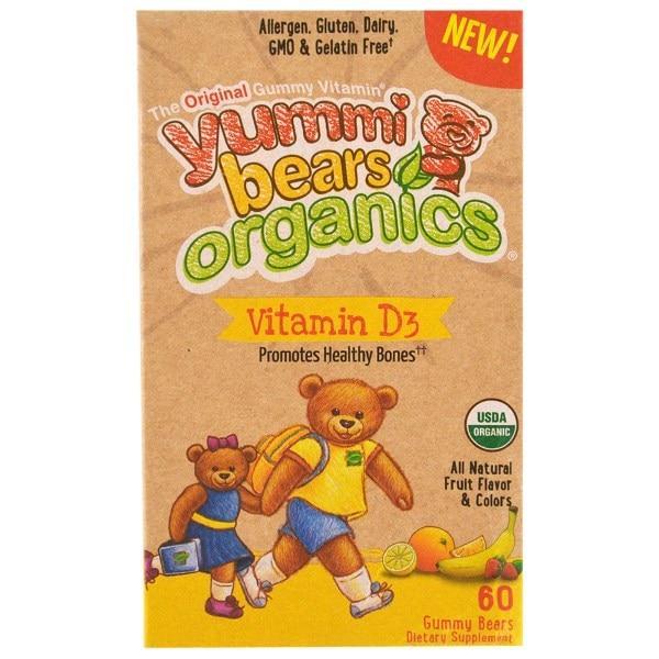 Hero Nutritional Products, Yummi Bears Organics, Vitamin D3, Natural Fruit Flavors, 60 Gummy Bears