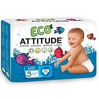 ATTITUDE, Экологически чистые подгузники, размер 3 средний, 11-24 фунта (5-11 кг) 30 шт.