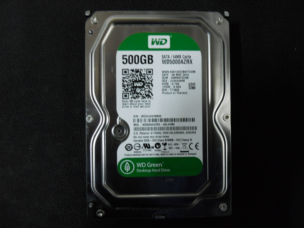 Жесткий диск HDD Western Digital Green 500GB 5400rpm 64МB WD5000AZRX 3.5 SATA III