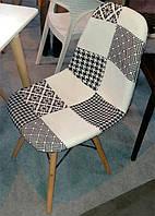 Стул DS-922 patchwork черно-белый, деревянные буковые ножки Charles & Ray Eames Style, в стиле лофт