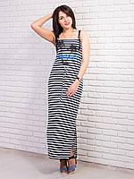 Легкое летнее платье в черную полоску с принтом
