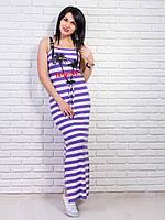 Легкое летнее платье в сиреневую полоску с принтом