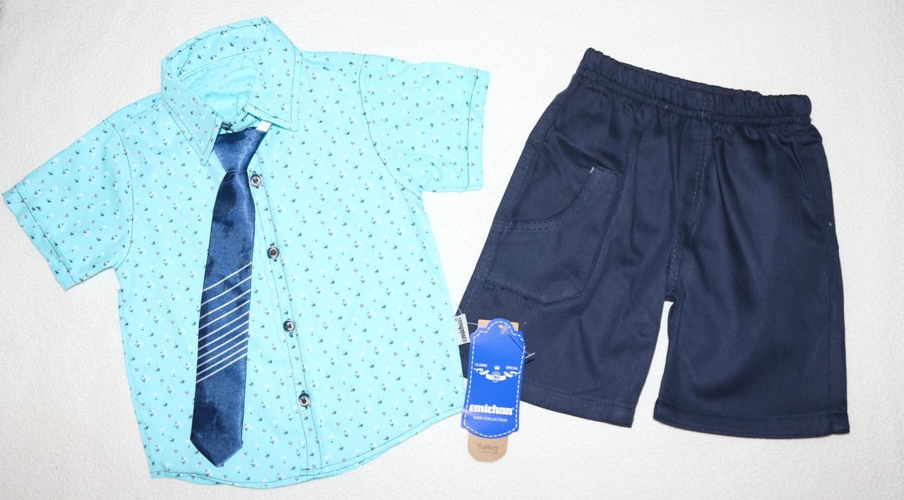 Нарядный летний костюм на мальчика рубашка+галстук+шорты 2,3,4,5 лет