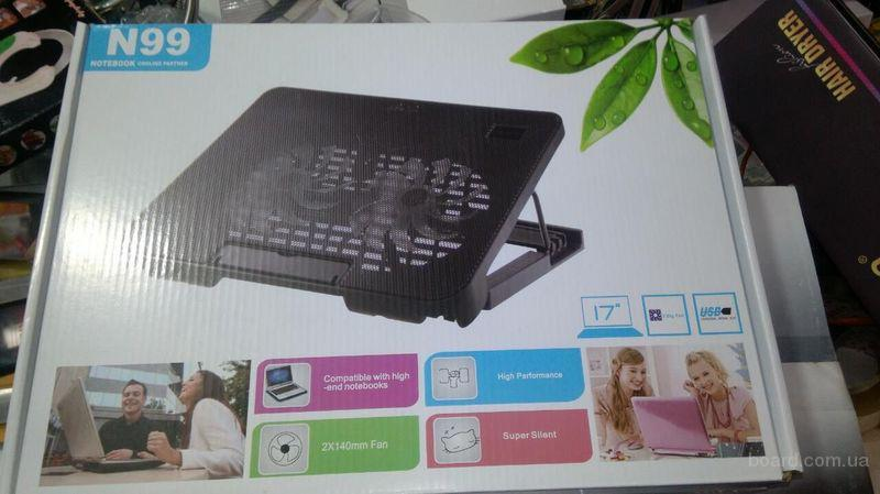 """Подставка USB под ноутбук с 2 вентиляторами N 99 (17"""")"""