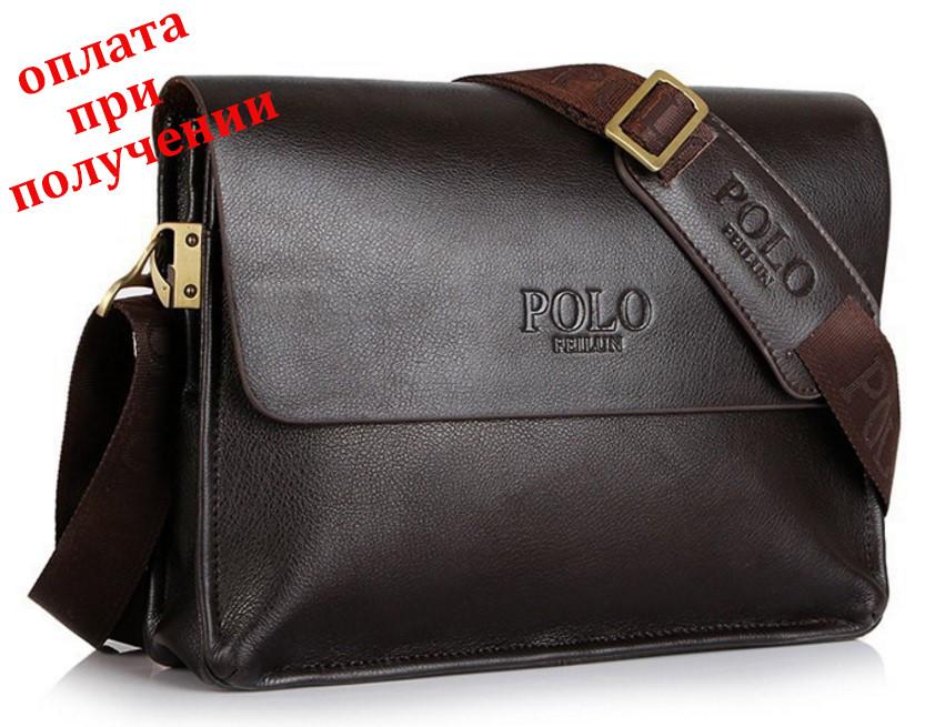Чоловіча шкіряна брендова сумка POLO А4 (форматА4)