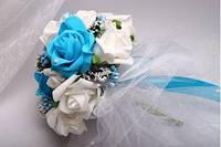 Букет-дублер с бело-голубыми розами