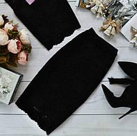Красивая юбка из набивного гипюра с фистоном, цвета в ассортименте черная