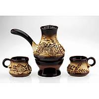 Набор кофейный с камином колорит, 4 предмета