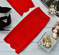 Красивая юбка из набивного гипюра с фистоном, цвета в ассортименте красная