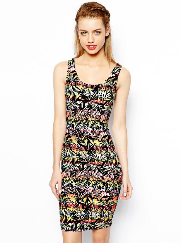 Облегающее платье в тропический принт New Look