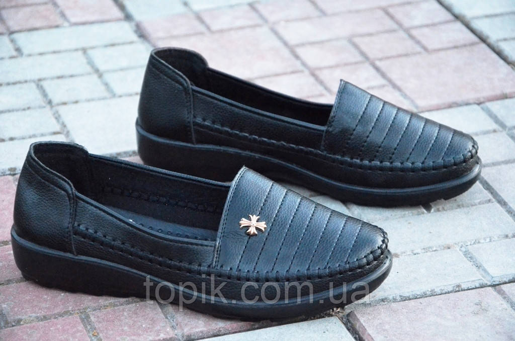 Туфли, мокасины женские черные мягкие удобные (Код: 586)