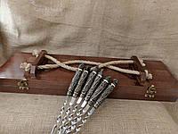 """Подарочный набор из 6 шампуров """"Дикие звери"""" в деревянном кейсе"""