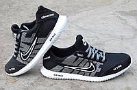 Кроссовки мужские летние Nike найк реплика кожа, замша, сетка черные 2017