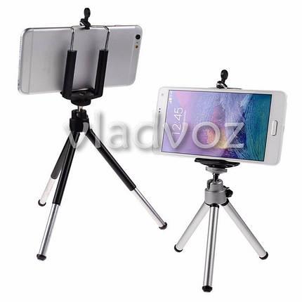 Штатив трипод, держатель для iphone, смартфона, камеры, фотоаппарата серебро, фото 2