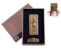 """Спиральная USB зажигалка """"Конь"""" №4806-1, золотого цвета, подарочная упаковка, стильный девайс"""