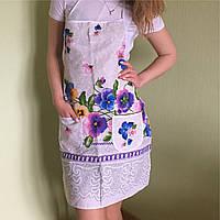 Фартук передник льняной в украинском стиле с фиалками