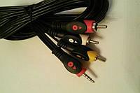Шнур штекер 3.5мм 4-х контактный на 3RCA длина 3м