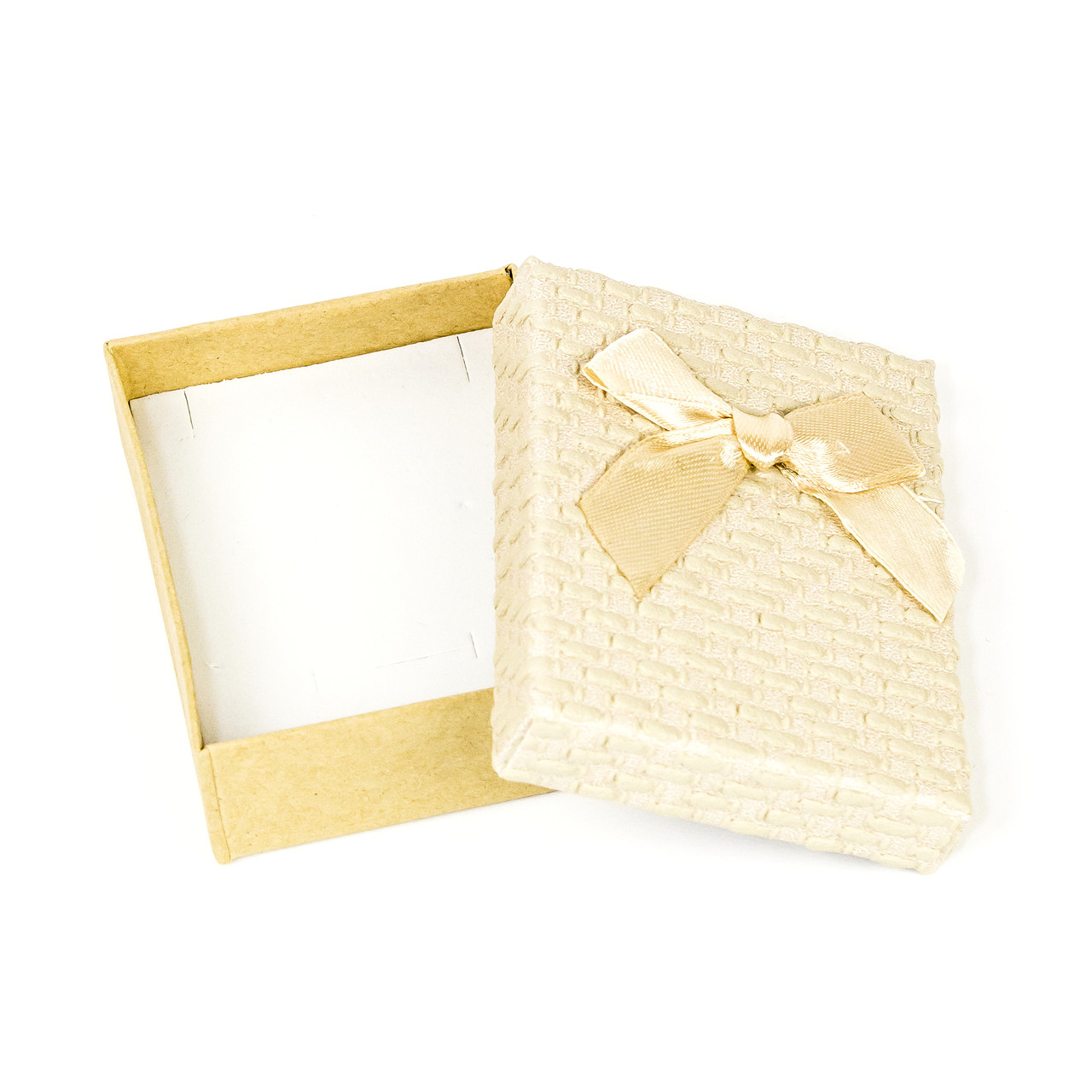 Подарочная коробка под бижутерию из фактурного картона бежевая 9 х 7 х 3 см