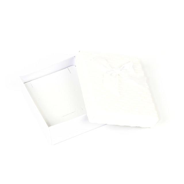 Коробочка с прорезями для колечка, сережек и подвески белая