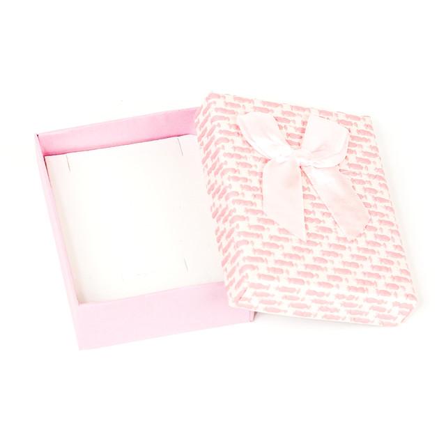 Коробочка с прорезями для колечка, сережек и подвески розовая