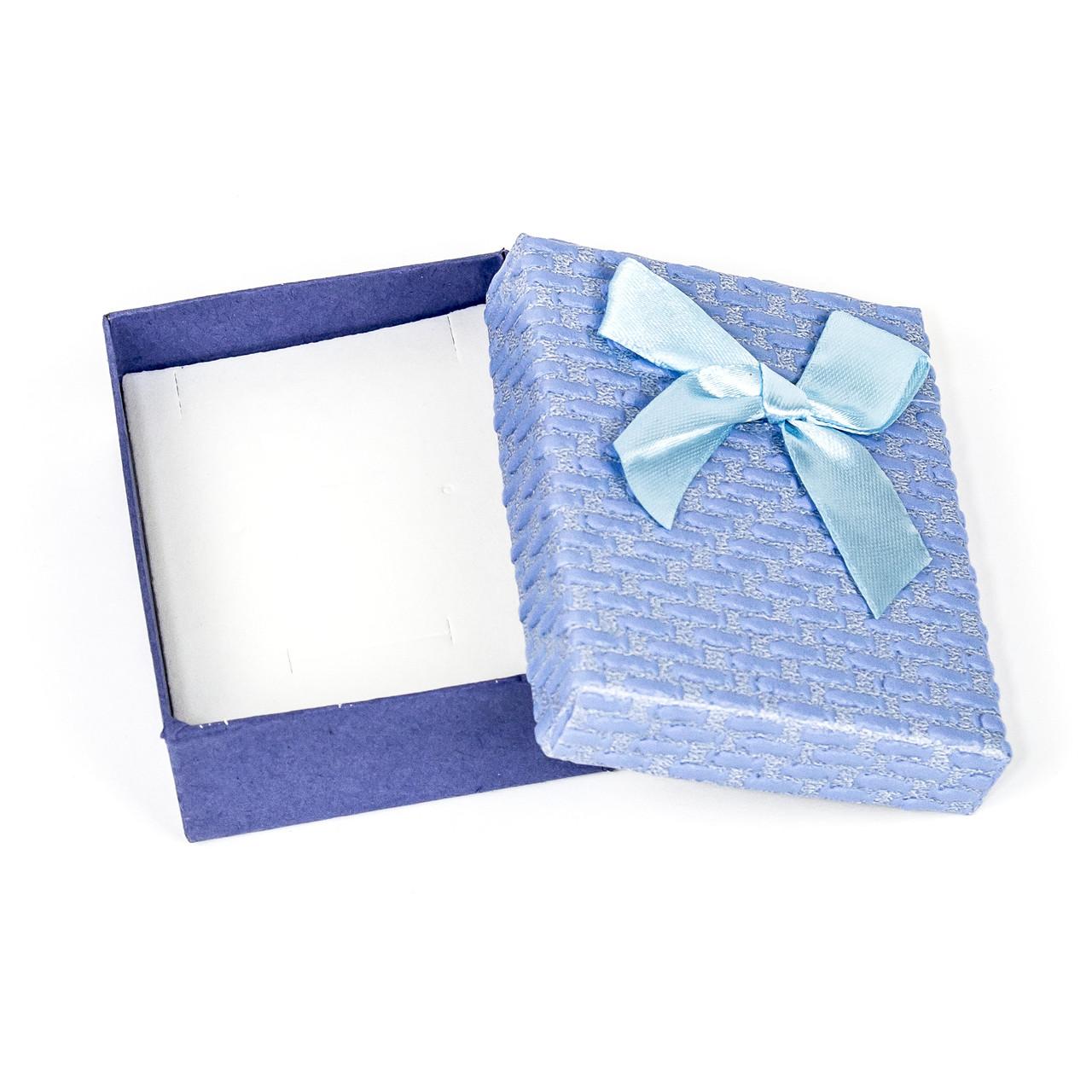 Подарочная коробка под бижутерию из фактурного картона голубая 9 х 7 х 3 см