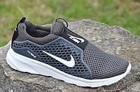 Кроссовки мужские летние Nike найк реплика сетка, резиновая вставка серые