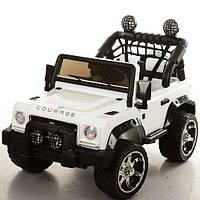 Двухместный детский электромобиль Джип M 3188 EBLR-1 белый, мягкие колеса и кожаное сиденье