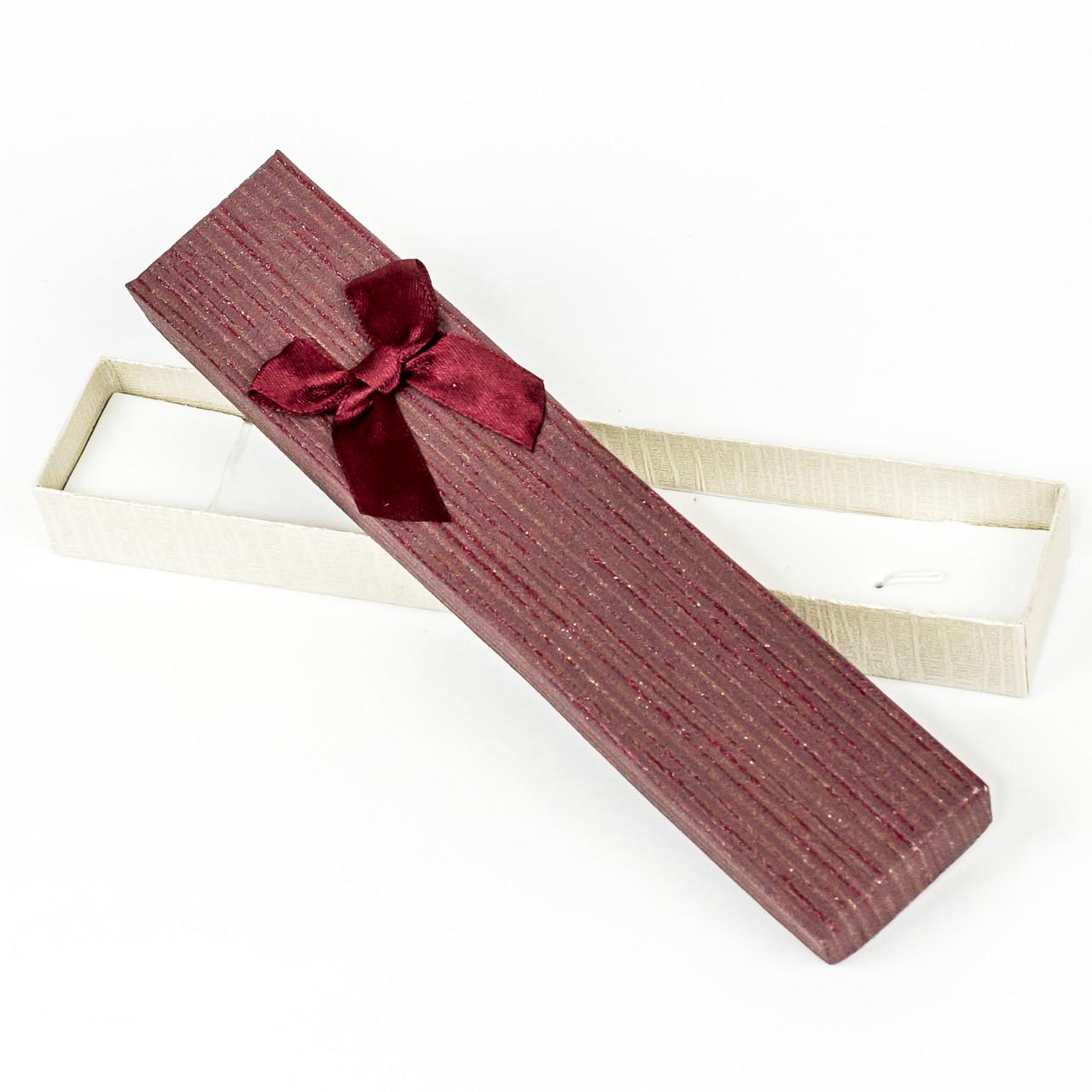 Подарочная коробка под бижутерию из дизайнерского картона бордовая 21 x 4,2 x 2,2 см