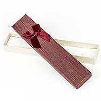 Подарочная коробка под бижутерию из дизайнерского картона бордовая 21 x 4,2 x 2,2 см, фото 1