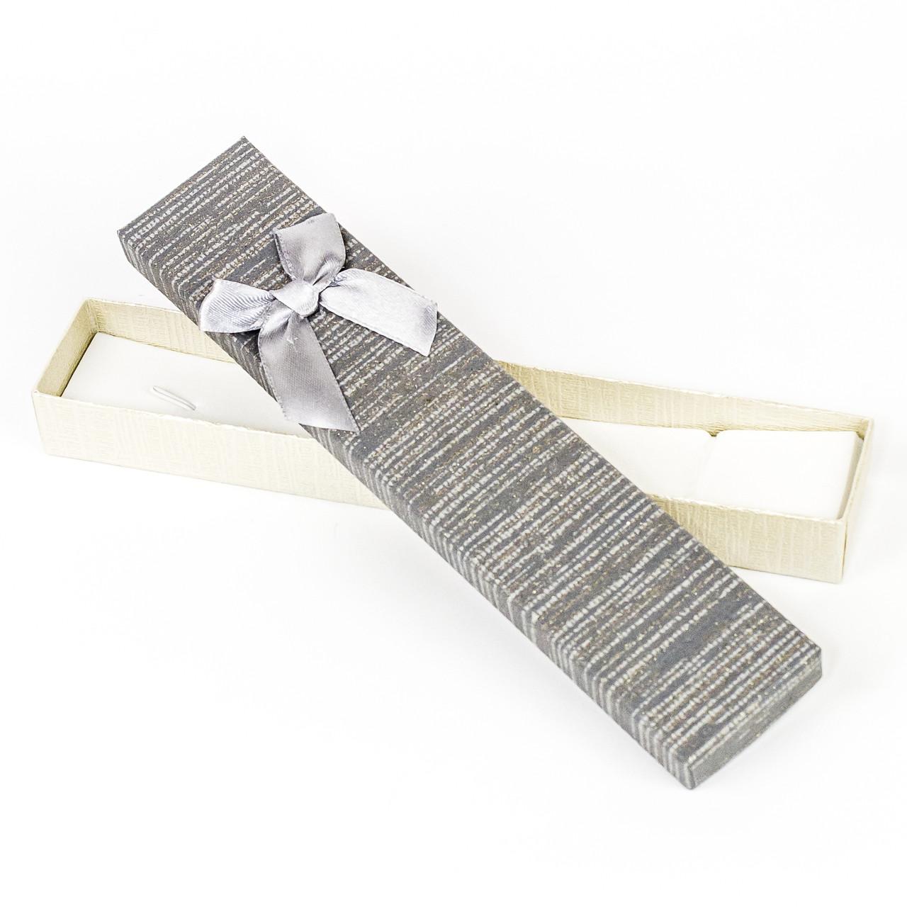 Подарочная коробка под бижутерию из дизайнерского картона коричневая 21 x 4,2 x 2,2 см