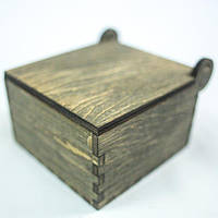 Шкатулка квадратная на петле, тёмная.Подарок из дерева