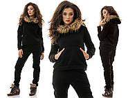 Модный женский теплый спортивный черный костюм двойка: свитшот с мехом на капюшоне+брюки.  Арт-1211/16