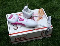 Электрическая роликовая пилка для педикюра Gemei 3065: 2 ролика, аккумулятор, щётка для очистки