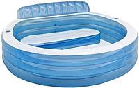 Надувной бассейн для детей 57190, надувное сиденье и спинка, 2 воздушных канала, 224х216х76 см