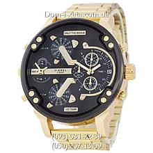 Мужские часы Diesel Brave, кварцевые, элитные часы Дизель Брейв, стальной ремешек, золото, реплика, отличное качество!