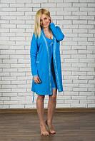 Комплект ночная рубашка + халат голубой