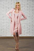 Комплект ночная рубашка + халат розовый
