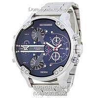 Мужские часы Diesel Brave, кварцевые, элитные часы Дизель Брейв, стальной ремешек, серебро синий циферблат