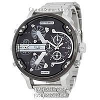 Мужские часы Diesel Brave, кварцевые, элитные часы Дизель Брейв, стальной ремешек, серебро черный циферблат