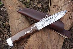 Нож  охотничий ,сталь 440с ,рукоять палисандр +кожаный чехол