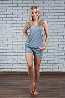 Пижама женская с шортами серый