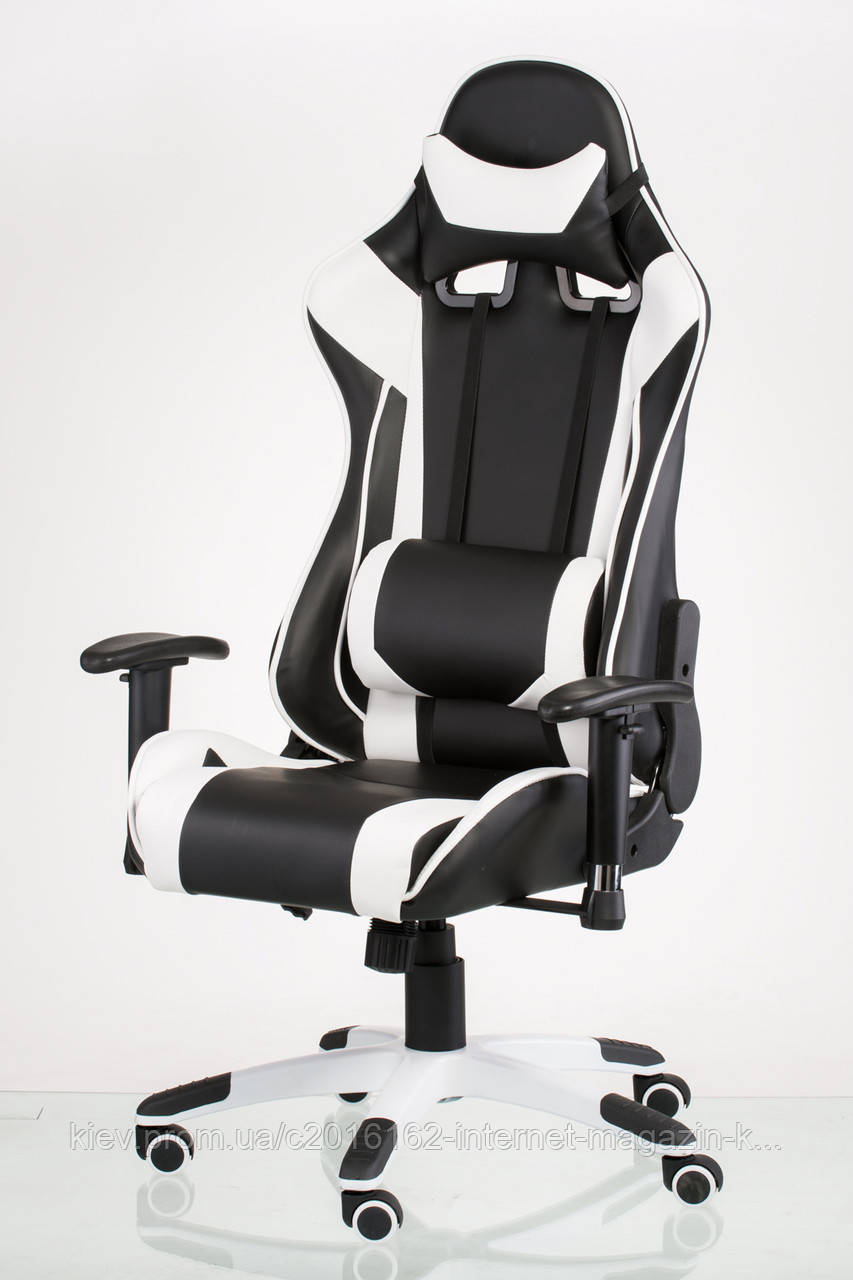 Кресло геймерское ExtremeRace черно-белое, фото 1