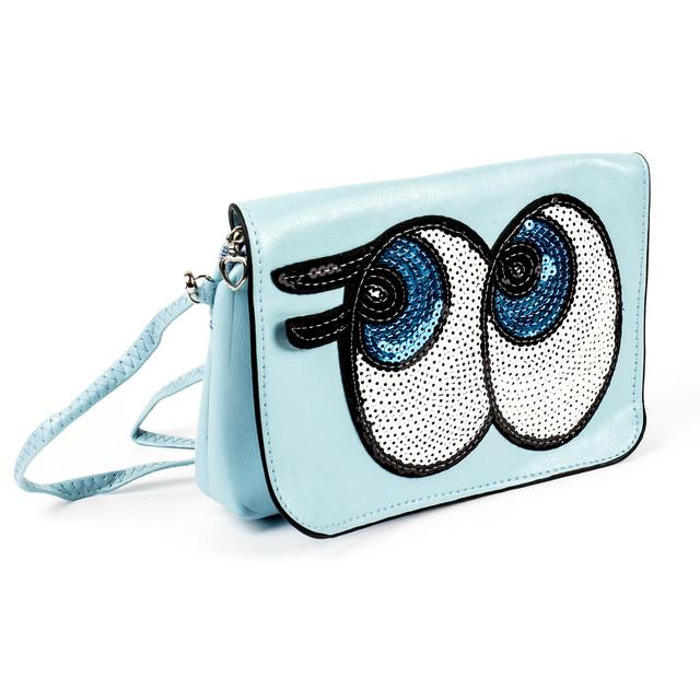 Сумочка детская Big Eyes голубая с пайетками